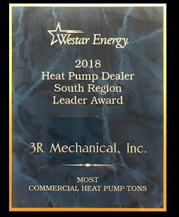 Westar Energy Heat Pump Dealer Award 2018 Commercial